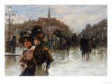 A Street Scene with Elegant Ladies, Paris Giclee Print by Max Lugi