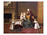 Portrait of John, 14th and His Family in the Breakfast Room at Compton Verney Giclee Print by Johann Zoffany