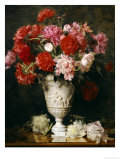 Peonies in a Vase on a Table Print by Gabriel Schachinger