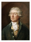 Portrait of the Artist, Bust Length in a Green Coat and White Stock Print by Thomas Gainsborough