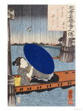 A Young Woman with a Blue Open Umbrella in a Boat Between Wooden Supports Posters by Kuniyoshi