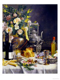 Bottles of Champagne Bread Biscuits and Cakes on a Draped Table, 1889 Giclee Print by Jules Larcher