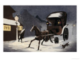Snowy Evening at Honcho Street, a Horse-Drawn Cart in the Snow Giclee Print by Kobayashi Kiyochika