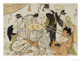 A Game of Neck Pull (Kubippiki) Between the Ozeki Tanikaze and Kintaro Prints by Kitagawa Utamaro