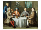 A Group Portrait of Sir Thomas Sebright, Sir John Bland and Two Friends, 1723 Reproduction procédé giclée par Benjamin Ferrers