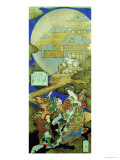 Chinese Courtesan Yang Guifei Meeting Luo Gongyuan on a Cloud Outside the Moon Palace Giclee Print by Totoya Hokkei