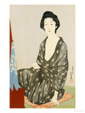 A Beauty in a Black Kimono with White Hanabishi Patterns Seated Before a Mirror Giclee Print by Hashiguchi Goyo