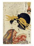 A Courtesan Raising Her Sleeve Giclée-tryk af Kitagawa Utamaro