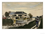 The Sunset at Yanagishima, a Restaurant on a River, a Woman with a Child on Her Back Giclee Print by Kobayashi Kiyochika