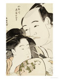 Okubi-E Portrait of the Wrestler Onogawa Kisaburo and the Noted Beauty Ohisa of Takashimaya Poster by Katsukawa Shunsho