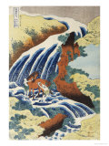 Two Men Washing a Horse in a Waterfall Poster von Katsushika Hokusai