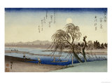 Autumn Moon Over Tama River Giclee Print by Ando Hiroshige