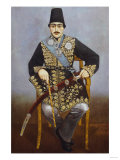 Seated Portrait of Nasir Al-Din Shah Qajar Persia, circa 1850-1870 Prints