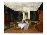 A Lady in an Interior, Fredensborg Prints by Adolf Heinrich Claus Hansen