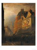 A Fire in Drury Lane by the Cock and Magpie Giclee Print by Henry George Hine