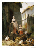 Feeding the Chickens Giclee Print by Eugene Remy Maes