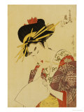A Bust Portrait of the Courtesan Fujie from Manjiya Giclee Print by Kitagawa Utamaro