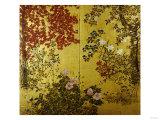 Kameliaer, hortensia, kirsebærblomster, liljer og andre blomster, 1800-tallet Plakater