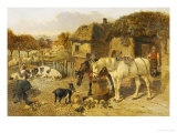 A Farmyard Scene with Plough Horses, Ducks, Cows Poster by John Frederick Herring I