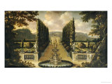 An Imaginary View of the Gardens of a Mansion with a Fountain and Avenues of Trees, 17th Century Giclee Print by Robert Robinson