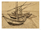 Fishing Boats on the Beach at Saints-Maries, c.1888 Premium Giclee Print by Vincent van Gogh