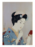 A Maiko Applying Rouge to Her Lips Giclee Print by Hashiguchi Goyo