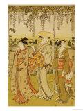 Three Women Viewing Wisteria at Kamedo Giclee Print by Torii Kiyonaga