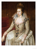 Portrait of Queen Anne of Denmark (1574-1619) Giclee Print by John De Critz