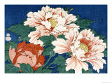 Three Stems of Peonies on a Blue Background, 1857 Giclee Print by Ando Hiroshige