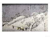 Evening Snow at Asuka Hill Print by Ando Hiroshige