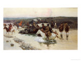 Tcherkess Convoy Crossing a River Giclee Print by Frants Alexeevich Roubeaud