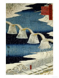 The Brocade Bridge in Snow Posters by  Hiroshige II