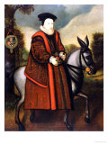 William Cecil, 1st Baron Burghley (1520-1598), Riding a Grey Mule, English School Reproduction proc&#233;d&#233; gicl&#233;e