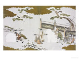 Children Making a Snow Shishi and Rolling a Snowball Giclee Print by Kitagawa Utamaro