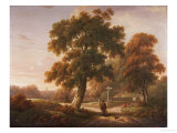 Travellers at a Crossroads in a Wooded Landscape Giclee Print by Charles Towne
