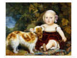 A Young Child with a Brown and White Spaniel by a Leafy Bank, 19th Century Premium Giclee Print by Amila Guillot-saguez