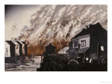 A Great Fire on the Night of February 11, 1881 Giclee Print by Kobayashi Kiyochika
