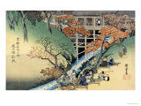 "Red Maple Leaves at Tsuten Bridge from the Series ""Famous Places of Kyoto"" Giclee Print by Ando Hiroshige"