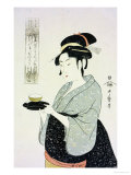 A Half Length Portrait of Naniwaya Okita, the Famous Teahouse Waitress Serving a Cup of Tea Posters av Kitagawa Utamaro