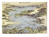 Karte von Shogama and Matsushima in Oshu Poster von Katsushika Hokusai
