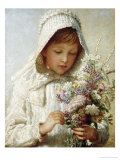 The Month of September, a Young Girl in White, Holding a Bunch of Flowers Art by Carl Wilhelm Friedrich Bauerle