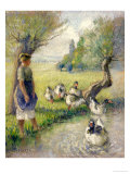 The Goose Girl (The Duck Pond), circa 1890 Premium Giclee Print by Camille Pissarro