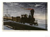 A Steam Locomotive in Hazy Moonlight Giclee Print by Kobayashi Kiyochika