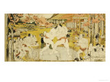 A Triptych of a Wrestling Bout at a Daimyo Mansion Giclee Print by Katsukawa Shunei
