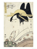 An Okubi-e Portrait of a Courtesan Representing the Hagi or Noji River Gicleetryck av Kitagawa Utamaro