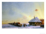 Ukranian Oxcart Drivers in Winter, 1858 Reproduction proc&#233;d&#233; gicl&#233;e par Ivan Constantinovitch Aivasowsky