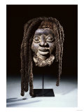 A Wum Mask with Plaited Fibre and Human Hair Coiffure, Western Grasslands Cameroon Prints