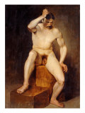 A Seated Male Nude Reproduction procédé giclée par Hans Von Staschiripka Canon