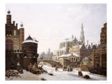 A Capriccio View of a Town with Figures on a Frozen Canal Giclee Print by Jan Hendrik Verheyen