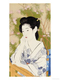 A Bust Portrait of a Young Woman Leaning on a Balcony Railing, Dated July 1920 Prints by Hashiguchi Goyo
